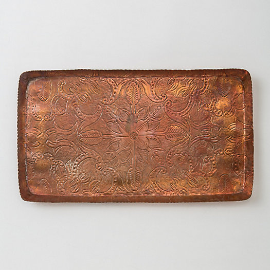 Inscribed Copper Tray, Large