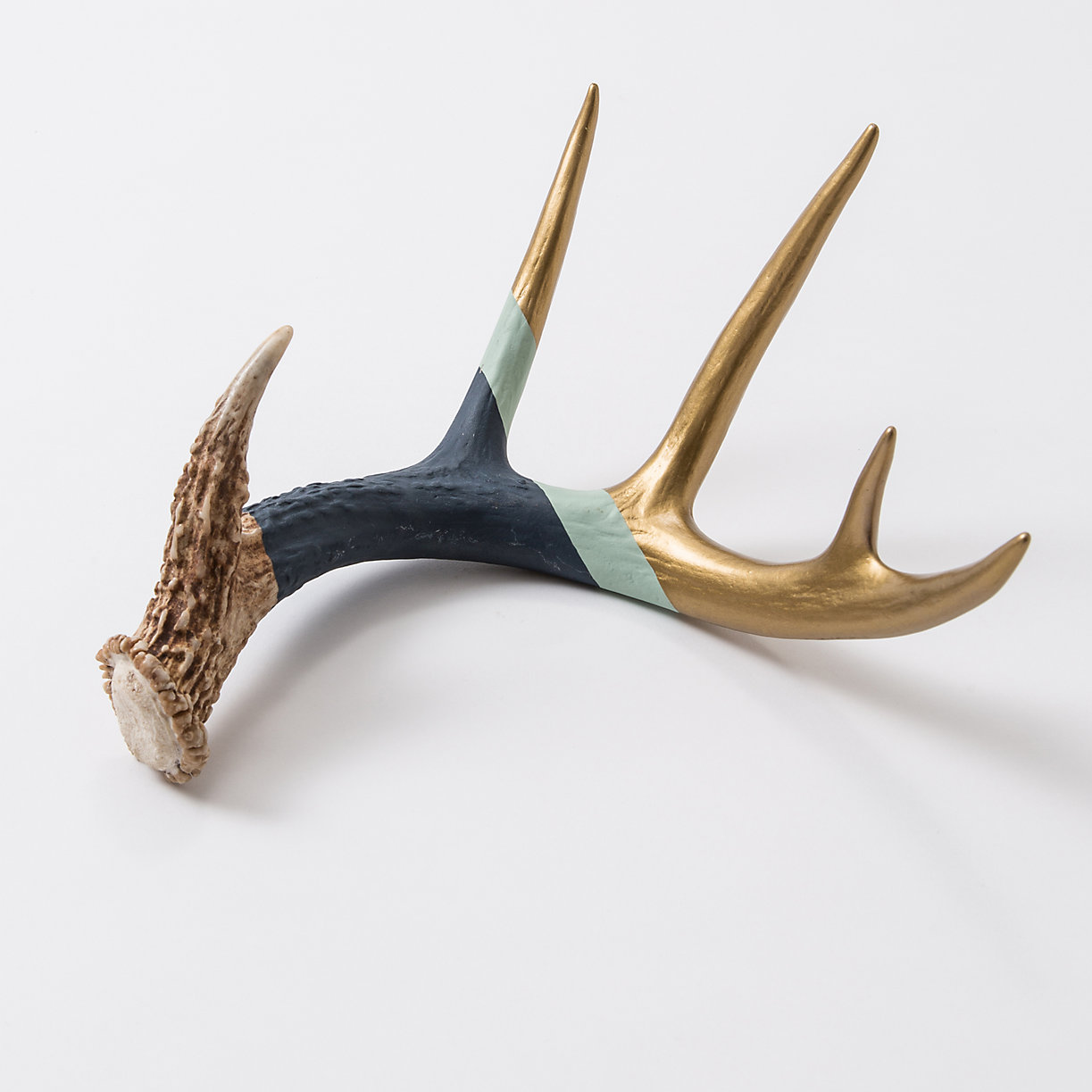 Navy gold antler terrain for Antler decorations for home