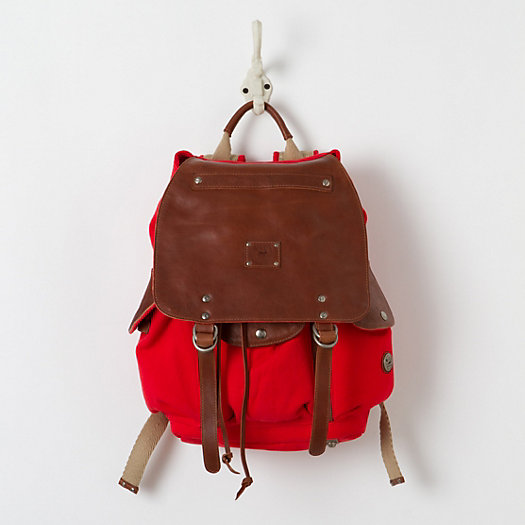 Washed Canvas Rucksack, Red