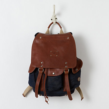 Washed Canvas Rucksack, Blue
