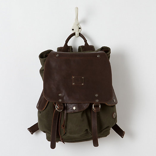 Washed Canvas Rucksack, Brown