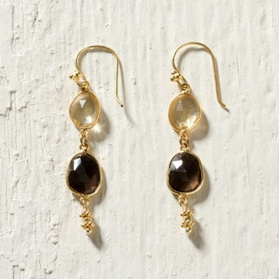 Double Gemstone Drop Earrings