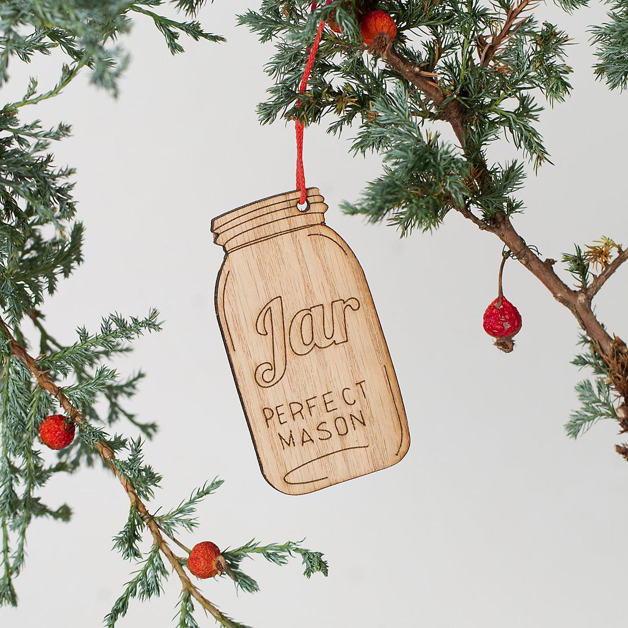 Mason jar ornaments - Wooden Mason Jar Ornament Loading Zoom