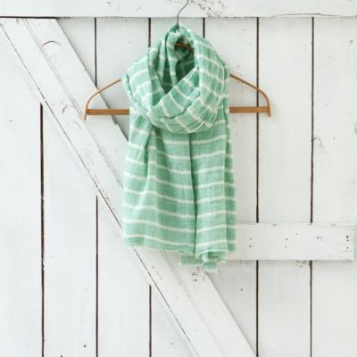 Cotton Stripe Scarf, Mint