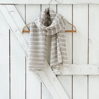 Cotton Stripe Scarf, Smoke