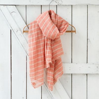 Cotton Stripe Scarf, Rose