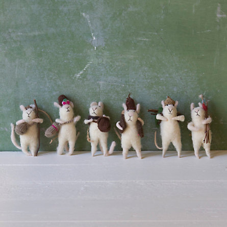 Set of Traveling Mice Ornaments