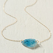 Aquamarine Droplet Necklace