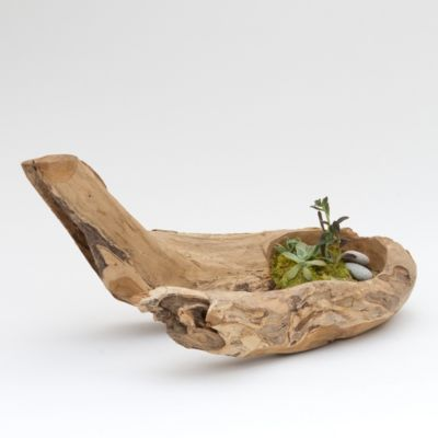 Carved Teak Branch Planter