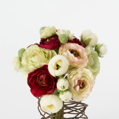 Silk Ranunculus Bouquet, White