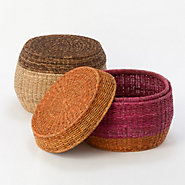 Striped Storage Pouf