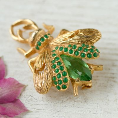 Vintage Beetle Brooch, Green