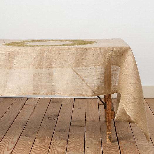 Evergreen Wreath Burlap Tablecloth
