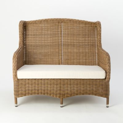All-Weather Wicker Wingback Sofa