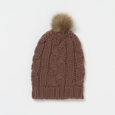 Pom-Pom Cable Knit Hat