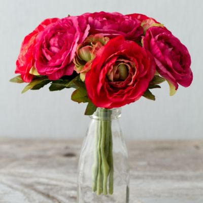 Silk Ranunculus Bouquet, Red