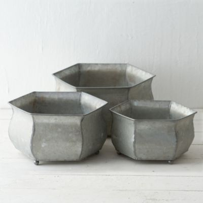 Footed Hexagon Planter
