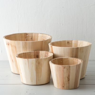Natural Wood Pot