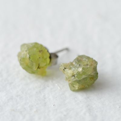 Raw Peridot Earrings