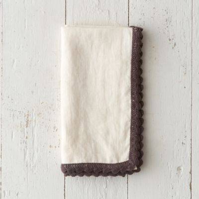 Washed Linen Crochet Trim Napkin