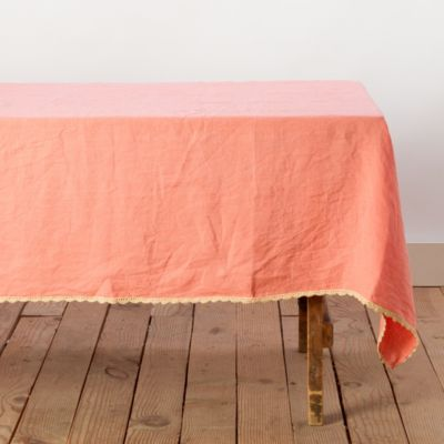 Washed Linen Crochet Trim Tablecloth