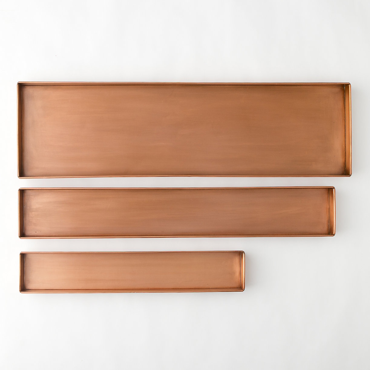 Habit form rectangle tray copper 24 36 terrain for Long rectangular candle tray