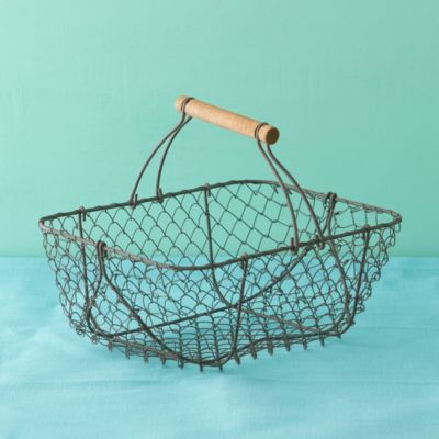 Wire & Wood Basket, Rectangle