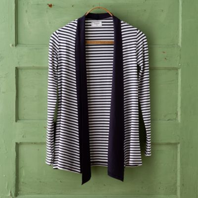 Sun Protective Draped Cardigan, Stripe
