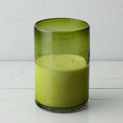 Linnea's Lights Green Glass Candle, Persian Lime