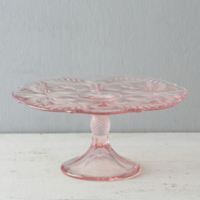 Rose Glass Cake Stand
