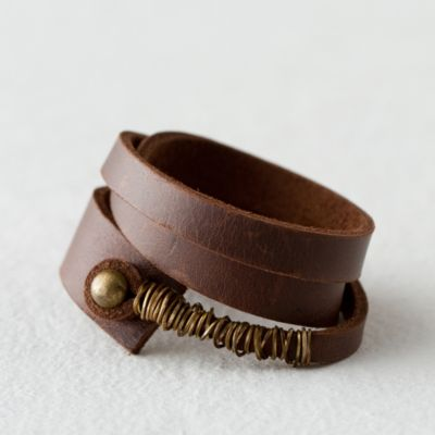 Leather & Brass Wrap Bracelet