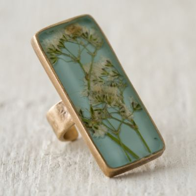 Pressed Baby's Breath Botanical Ring