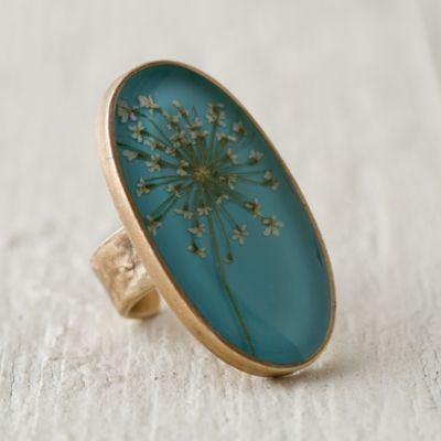 Pressed Queen Anne's Lace Botanical Ring