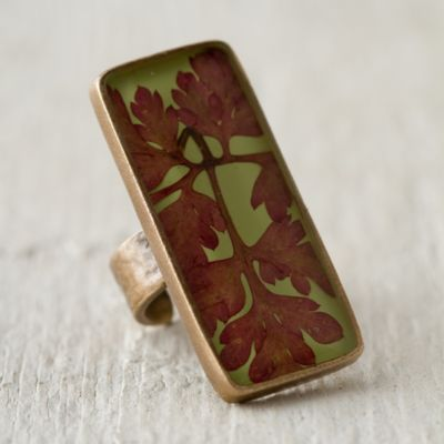 Pressed Red Fern Botanical Ring