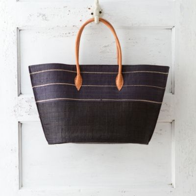 Natural Raffia Tote, Navy