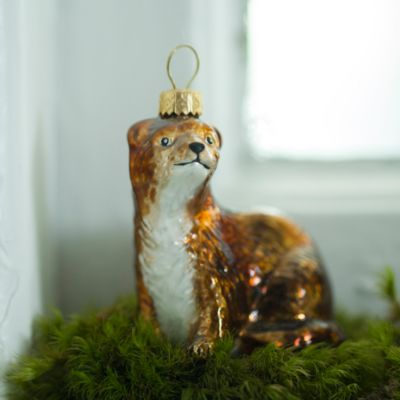 Glass Weasel Ornament
