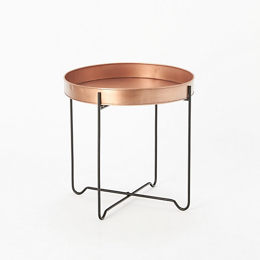 Copper tray end table terrain for Tray side table