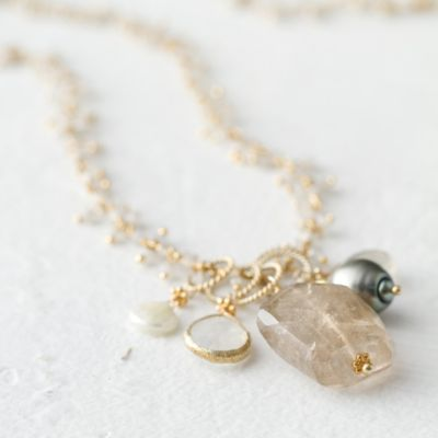 Pearl & Quartz Drop Necklace
