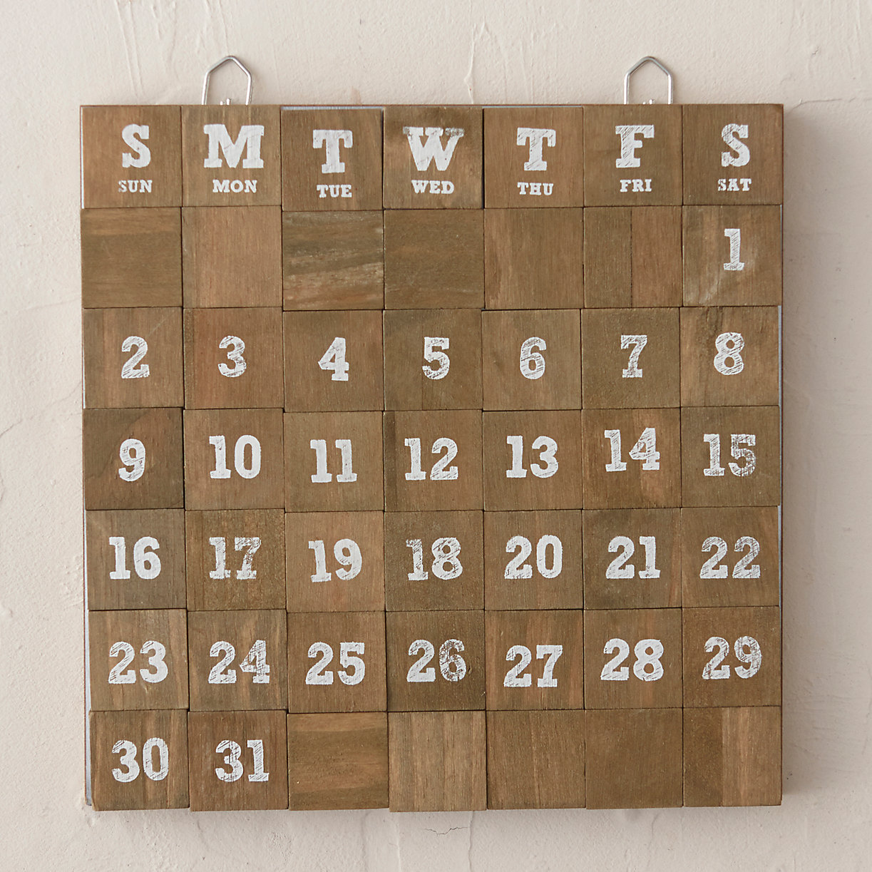 Calendar Wood Blocks : Wooden block monthly calendar terrain