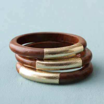 Wood + Leather Bangle Trio, Gold