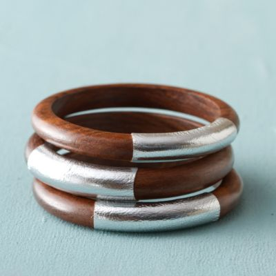 Wood + Leather Bangle Trio, Silver