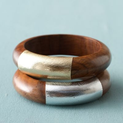 Wood + Leather Bangle Pair