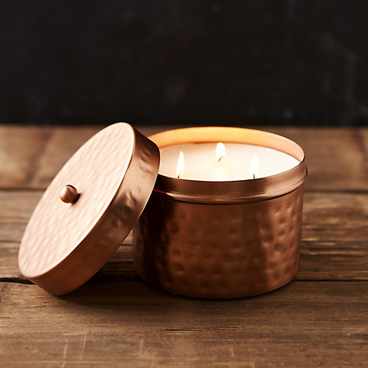 Hammered Copper Candle, Honey Tobacco