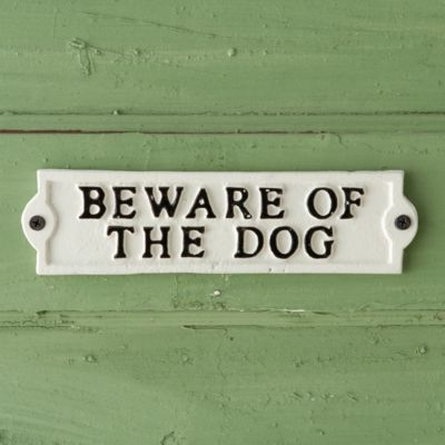 Cast Iron Beware of Dog Sign