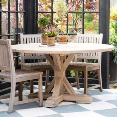 Protected Teak Round Trestle Dining Table, 5'