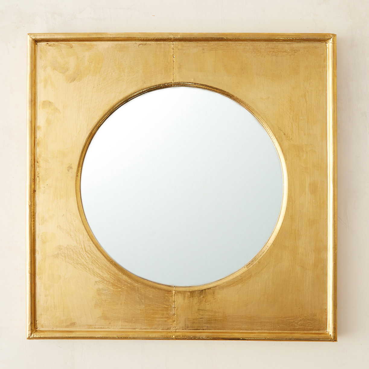Brass square frame mirror terrain for Square mirror