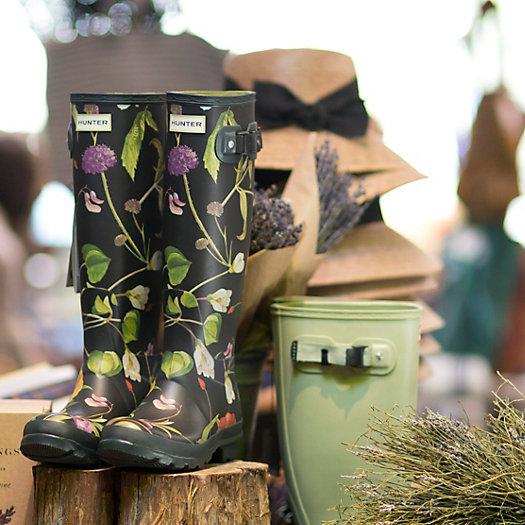 hunter floral garden boots tall