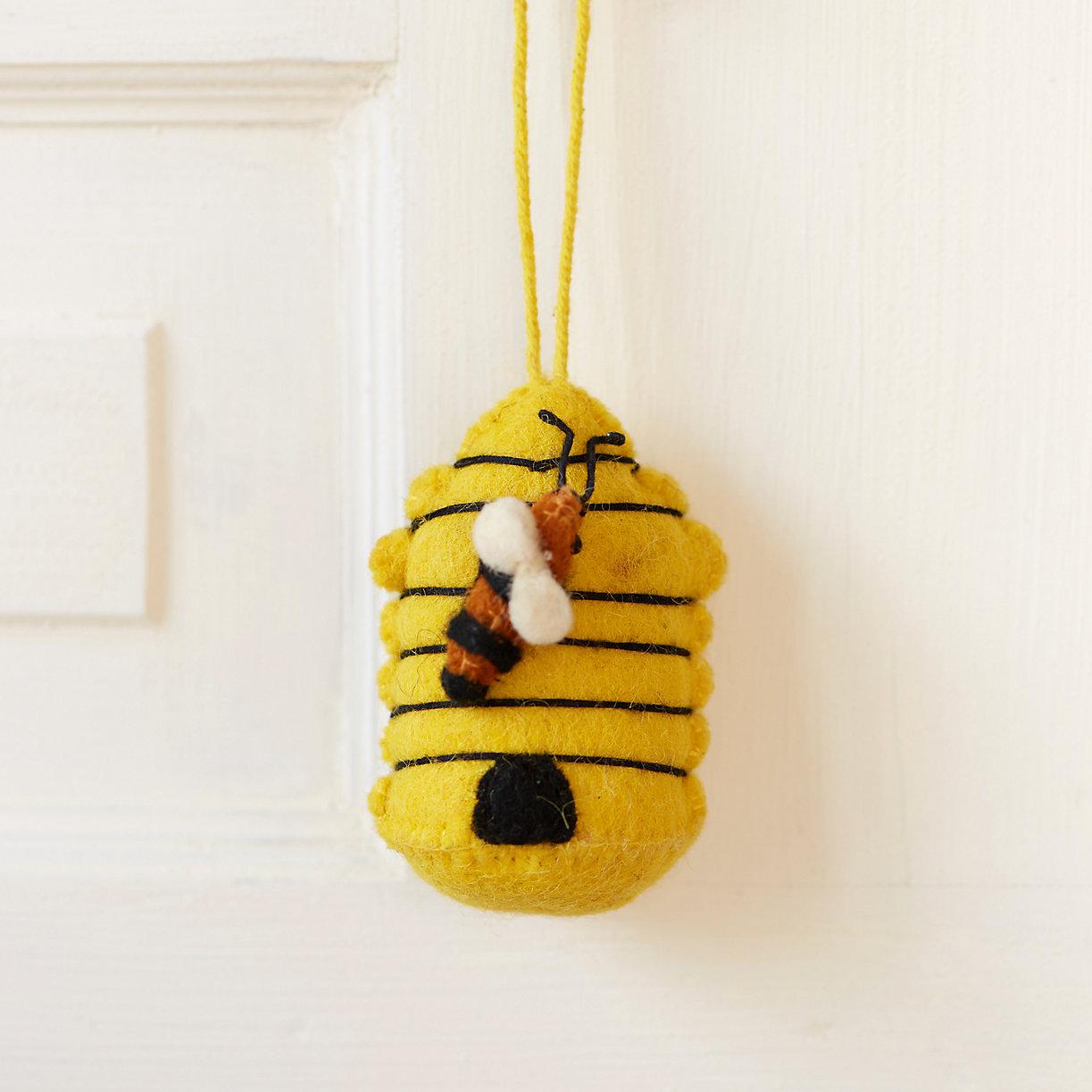 Beehive ornament - Felt Beehive Ornament Loading Zoom