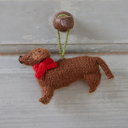 Knitted Dachshund Ornament