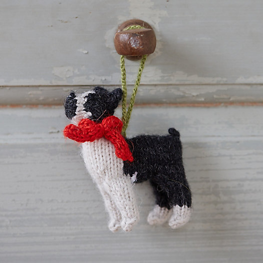 Knitted Boston Terrier Ornament